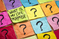 What is my life purpose question handwriting on colorful sticky notes Stock Photography