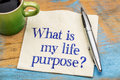 What is my life purpose question handwriting on a napkin with a cup of coffee Royalty Free Stock Photos