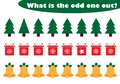 What is the odd one out for children, christmas theme in cartoon style, fun education game for kids, preschool worksheet activity Royalty Free Stock Photo