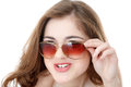 What s up young woman in sunglasses making a face close isolated on white Royalty Free Stock Images