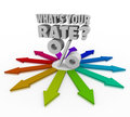 What s your rate percent sign interest investment return or symbol on colorful arrows pointing in different directions with the Royalty Free Stock Image