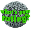 What s your rating percent sign score percentage the question on a ball or sphere of or signs or symbols Stock Photography