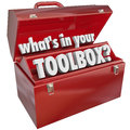 What s in your toolbox red metal tool box skills experience the question asking if you have the and necessary to perform a task or Royalty Free Stock Image