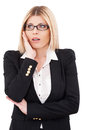 What a surprise surprised mature businesswoman keeping mouth open and looking away while standing isolated on white Royalty Free Stock Photos