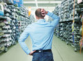 So what thinking man in a big shop Royalty Free Stock Image