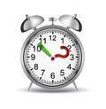 What time is it alarm clock with a question mark and an exclamation point as arrows Royalty Free Stock Images