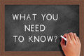 What you need to know text on blackboard handwritten chalk the Stock Photo
