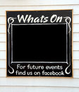 Whats on notice blackboard photo of a chalk board with blank space ideal for advertising notices and future events etc photo taken Stock Images