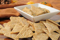 Wheat crackers with garlic spice hummus Royalty Free Stock Photo