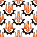 Wheat ears in gear wheels seamless pattern ripe orange on white background for agriculture or industrial theme design Stock Image