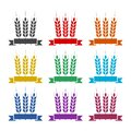 Wheat ears and ribbon icon, color set Royalty Free Stock Photo