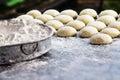 Wheat flour and bun Royalty Free Stock Photo