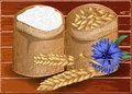 Wheat and flour on wooden table eps Royalty Free Stock Photo