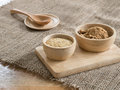 Wheat germ and Brown sugar in wooden bowl Royalty Free Stock Photo