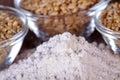 Wheat grain and flour Royalty Free Stock Photo