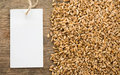 Wheat grain on wood texture Royalty Free Stock Photo