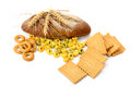 Wheat products isolated on white background. Royalty Free Stock Photo