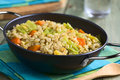 Wheat and savoy cabbage stew vegan made of grains carrot pumpkin onion photographed with natural light selective focus focus one Stock Photography