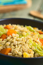 Wheat and savoy cabbage stew vegan made of grains carrot pumpkin onion photographed with natural light selective focus focus one Royalty Free Stock Images