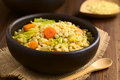 Wheat and savoy cabbage stew vegan made of grains carrot pumpkin onion in rustic bowl photographed on dark wood with natural light Royalty Free Stock Images