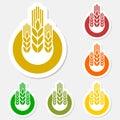 Wheat sticker logo set Royalty Free Stock Photo