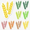 Wheat sticker set Royalty Free Stock Photo