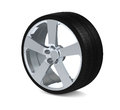 Wheel with aluminium rim over the white Royalty Free Stock Photography