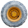 Wheel of backhoe or tractor - used - isolated Royalty Free Stock Photography