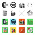 Wheel balancing, spanner and brake disc monochrome,flat icons in set collection for design.Car maintenance station