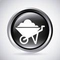 Wheel barrow in silver button isolated icon design