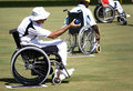 Wheel Chair Lawn Bowls for Disabled Persons (Men) Stock Image