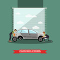 Wheel change, car repair service vector illustration in flat style