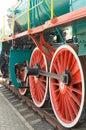 Wheel detail of a vintage steam train locomotive. Royalty Free Stock Photo