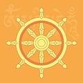 Wheel of dharma,one of eight buddhist religious symbols