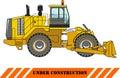 Wheel dozer. Heavy construction machine. Vector