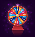 Wheel of fortune with glowing lamps for online casino, poker, roulette, slot machines, card games. realistic 3d wheel of
