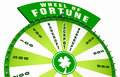 Wheel of fortune illustration green with four leaf clover isolated on white background Stock Images