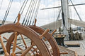 Wheel of large sailing ship Royalty Free Stock Photo
