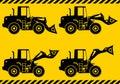 Wheel loaders. Heavy construction machine. Vector