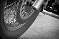Wheel motorcycle close up. Stock Photos