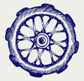 Wheel motorcycle vector doodle style Royalty Free Stock Photos