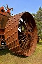 Wheel of an old steam engine Royalty Free Stock Photo