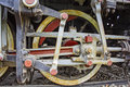 Wheel old steam locomotive great powerful drive with the mechanism that moves the Royalty Free Stock Photo