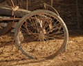Wheel on Old Wooden Cart Stock Photo