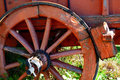 Wheel of an old wooden cart in a rural country in tuscany italy europe Royalty Free Stock Photography