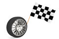 Wheel with racing flag Stock Image