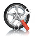 Wheel repair icon d render Royalty Free Stock Photos