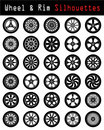 Wheel & Rim silhouettes Royalty Free Stock Photography