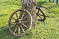 Wheel and rudder old wagon on grass for beautification Royalty Free Stock Photography