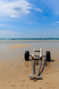 Wheel towing for speed boat on beach sai kaew beach thailand Stock Photos